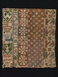 Fragment of a relic bag (linen gauze, embroidered with silk) Medieval Pattern, Medieval Art, Embroidery Purse, Embroidery Patterns, Textile Patterns, Textiles, Medieval Embroidery, Linen Bag, Brick Stitch