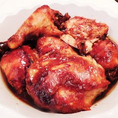 Slow Cooker Honey Garlic Chicken Thighs. Simply place ingredients in your crock pot and get cooking. Meat will fall of the bone and melt in your mouth!