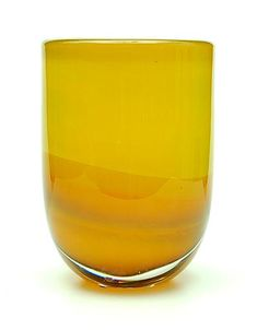 Heavy glass Unica vase MF 524 yellow glass topside and orange-brown bottomside with clear glass overlay design Floris Meydam 1962 executed by Glasfabriek Leerdam / the Netherlands