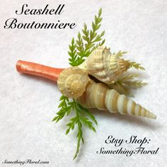 Seashell and Realistic, Artificial, Sea Grass Boutonniere. Choice of ribbon color, jute, or burlap. Perfect for a beach or destination wedding, vow renewal, or anniversary, a waterfront or beach themed prom or homecoming, or for anyone who loves the beach. #beach #wedding #boutonniere #boutonierre #buttonhole #destination #prom #homecoming #seashell #jute #burlap #sea #shell