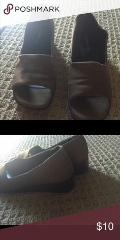 Open toed dress shoes Woven pattern shoes. Worn very little.brown and bronze like Whats what Shoes Espadrilles