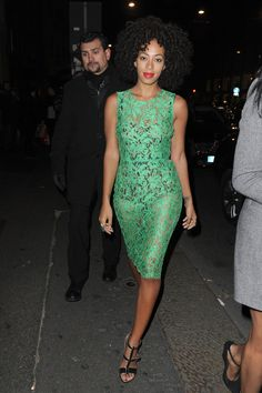 Solange Knowles green lace see thru dress? Yeah why the heck not! Only Solange can Pull this off