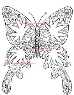 Adult Coloring Page - Hippie Marijuana Leaf Butterfly - Cannabis - Hand Drawn - Printable Digital Do Quote Coloring Pages, Free Adult Coloring Pages, Colouring Pages, Coloring Books, Sharpie Drawings, Marijuana Leaves, Christian Symbols, Butterfly Painting, Flash Art