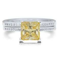 BERRICLE 925 SILVER PRINCESS CANARY CZ 2PC BRIDAL RING SET SIZE 9 r543-9