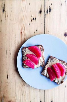cashew butter, grapefruit and raw honey on rye bread.