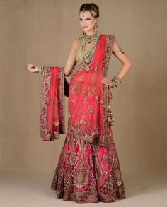 Exclusively.In  Fuchsia Heavily Embellished Lengha Set