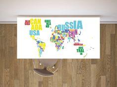 Typo world map für den Schreibtisch. Verschafft Überblick und sieht einfach gut aus! :-) #typo #weltkarte #schreibtisch #möbelfolie #farbig