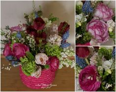 Flower box with ranunculus, lilac, muscari, tulips
