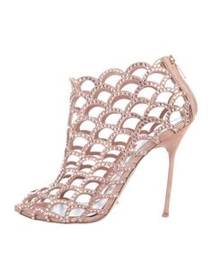 Nude suede Sergio Rossi cage booties with crystal embellishments throughout, scalloped trim, metallic leather heels and zip closure at counters. Spring Trends, Sergio Rossi, Shoe Sale, Metallic Leather, Leather Heels, Cage, Women's Shoes, Booty, Crystals