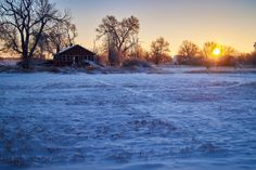 Deserted Sunrise - A cold and snowy sunrise on the Nebraska plains in a small town.