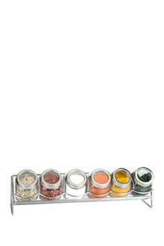 6 Piece Glass Spice Jar with Rack