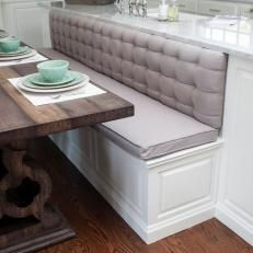 Tufted Kitchen Banquette and Rustic Table