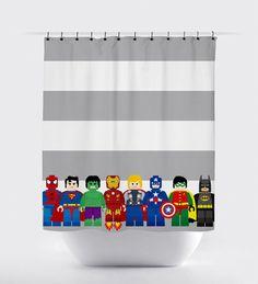 mini block super hero shower curtains superhero by PrintArtShoppe