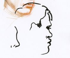 Portrait réalisé sans reprise, dans le métro de Paris, feutre, 2017. Portrait drawn from life in Paris subway