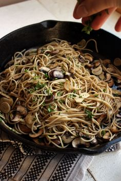 Garlic Mushroom Pasta- Do not let the simplicity of this pasta confuse you, the flavors have fantastic depth. The secret is well browned mushrooms. | WorthCooking.net