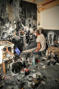 Michal Mráz. Moebius Art, Modern Art, Contemporary Art, Art Studio Design, Art Studio Organization, Studio Room, House Painting, Painting Studio, Art Studios