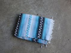Vintage Mexican Blanket Aqua Blue Turquoise by QUIVERreclaimed