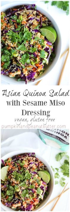 Asian Quinoa Salad with Sesame Miso Dressing {vegan, gluten free ...