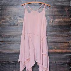 sedona desert tattered up slip dress in dusty pink - shophearts - 1
