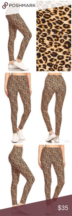 ef2c49ac718ee Leopard Print High Waisted Leggings! 5-inch long YOGA style banded