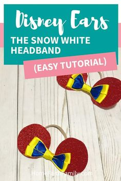 DIY this cute Disney inspired ears headband for your Snow White fan. This easy tutorial will walk you step-by-step to creating the perfect set of ears for your next Disney vacation. Disney Birthday, Disney Theme, Cute Disney, Walt Disney, Disney Ears Headband, Disney Headbands, Diy Crafts For Kids Easy, Kids Crafts, Snow White Disney