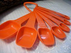Vintage Tupperware Orange measuring spoons