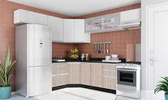 Cozinha Modulada Completa com Armário Aéreo 1 Porta basculante de Vidro Módulos Melissa Branco/SantAna/Lari - Fiasini
