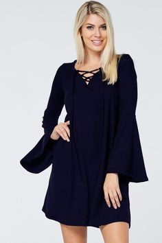 lace-up front swing dress