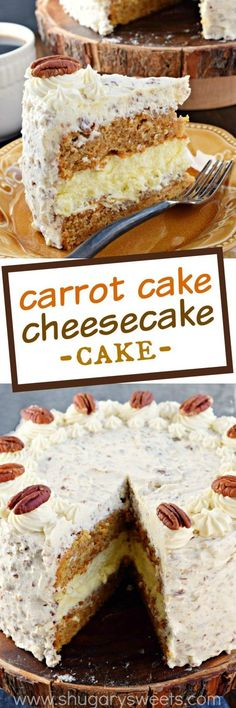 This Carrot Cake Cheesecake Cake recipe is a showstopper! Layers of homemade carrot cake, a cheesecake center and it's all topped with a delicious cream cheese frosting![I l love carrot cake & cheese cake/ got'ta try this one]] Carrot Cake Cheesecake, Cheesecake Recipes, Wedding Cheesecake, Cheesecake Cookies, 13 Desserts, Dessert Recipes, Southern Desserts, Recipes Dinner, Food Cakes
