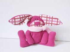 Magenta Bunny Baby Toy  stuffed rabbit hare by TwistedKnickersInc, $25.00