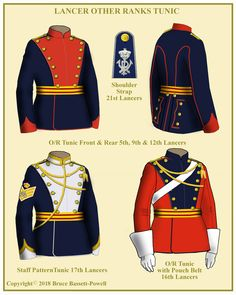 Other Ranks Tunics of British Lancer Regiments British Army Uniform, British Uniforms, Military Costumes, Military Uniforms, English Army, Imperial Officer, Warrior Outfit, Royal Guard, Historical Clothing