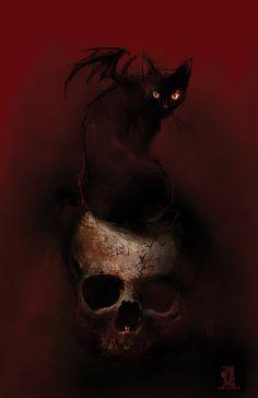 The Black Cat II by Nat Jones ☽ dark, horror, eerie, macabre ☾ Cat Skull, Skull Art, Arte Horror, Horror Art, Dark Fantasy Art, Dark Art, Black Cat Art, Black Cats, Witch Cat