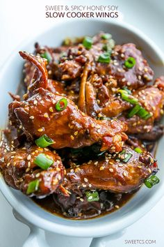 These spicy and sweet Slow Cooker Honey Soy Chicken Wings are the most delicious and easy appetizer ever!