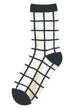 Plaid Navy Beige Cotton Ankle Socks