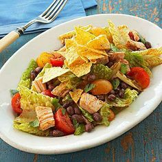 Find healthy, delicious chicken salad recipes including buffalo chicken, grilled chicken and pasta chicken salad. Healthier Recipes, from the food and nutrition experts at EatingWell. Black Bean Salad Recipe, Bean Salad Recipes, Chicken Salad Recipes, Healthy Salad Recipes, Healthy Chicken, Diet Recipes, Diabetic Recipes, Diabetic Salads, Healthy Meals