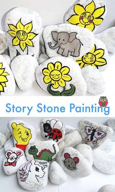 Wonderful idea to make and ceate with kids. Allows children to use their imaginiations when telling their stories. Great craft idea too! #storystones #rockpainting #easyartideas #imagination #useyourimagination Elephant Love, Little Elephant, Bee Do, Inspirational Blogs, Story Stones, Stories For Kids, Pictures To Paint, Mom Humor, Stone Painting
