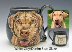 Come to my Etsy shop and see what I have to offer. This is a custom dog mug, send me a photo of your dog. This is a white clay mug with denim blue glaze. It's hand painted, permanently fired on the mug. Dishwasher and microwave safe. Clay Mugs, Ceramic Mugs, Portrait Images, Dog Portraits, Pet Dogs, Pets, White Clay, Custom Mugs, Microwave