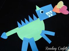 Shape dragons for The Knight and the Dragon by Tomie dePaola.  Great activity for reviewing shapes or beginning the study of illustrations kid-blogger-network-activities-crafts