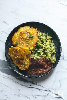 Vegan Arroz Verde with Patacones and Beans