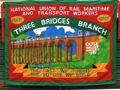 Ed Hall banner for RMT. Part of an exhibition