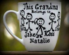Personalized Grandma Gift / Grandpa Coffee Mug by Sammieslettering