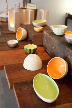 Slip-cast pottery made from real fruits and vegetables by Vegetabowls
