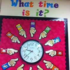 LOVE my classroom clock wall!