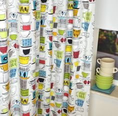 Geel / Blauw / Oranje Gordijn Coffee Cups | P.T. Coffee Cups 5849 Vintage 284 | Gordijnenwinkel