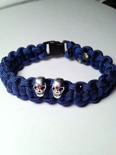 Paracord Navy Skull Charms Bracelet by TheBeadedPathway on Etsy, $10.00
