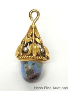 Large Antique 14k Gold Natural Pearl Boulder Opal Art Nouveau Fob Pendant