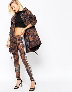 63318cebcd5b adidas Leggings In All Over Camo Leaf Print With 3 Stripes at asos.com