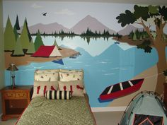 Camping theme kids room! BY ARTIST LEIANN KLEIN