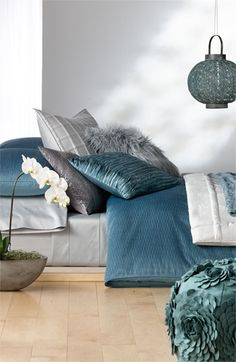 love these colors for the bedroom.  Nordstrom at Home 'River Pleat - Blue Smoke' Collection #Nordstrom