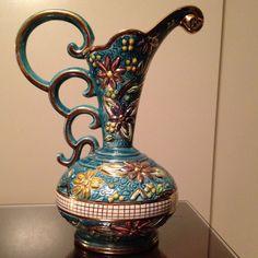 Hand Painted Vintage H Bequet Quaregnon Belgium Majolica Vase c1940s Antique   JUST Gorgeous!